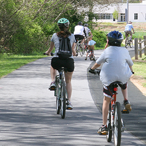 Walkers and cyclists on the Swamp Rabbit Trail