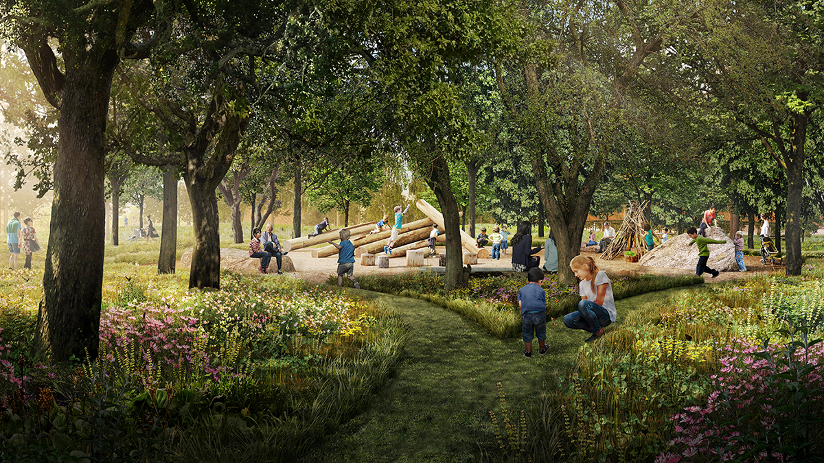 Unity park rendering of natural play area