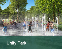 Rendering of children playing in the proposed 'sprayground' at Unity Park