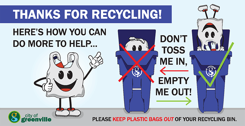 Graphic: image urging residents not to throw plastic bags in recycling carts