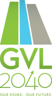 Logo with text: GVL2040 Our Home, Our Future