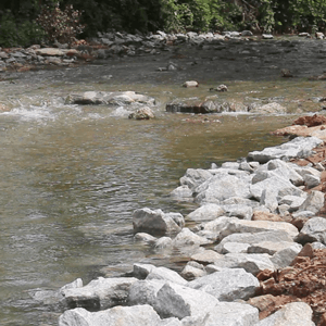 A section of Richland Creek, after streambank restoration work was completed.