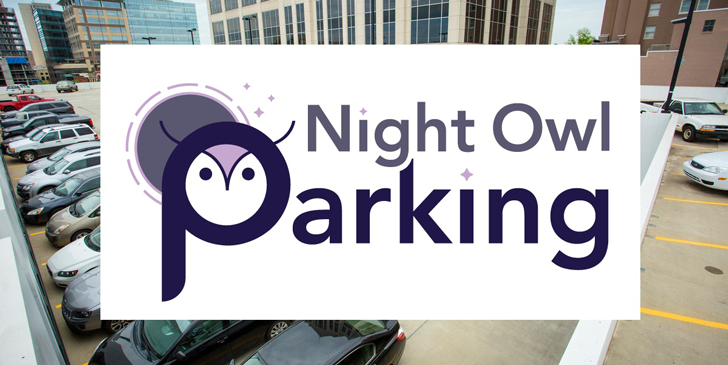 Night Owl logo with parking garage in background