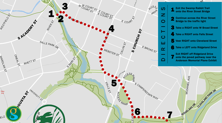 Map showing detour of Swamp Rabbit Trail in downtown Greenville