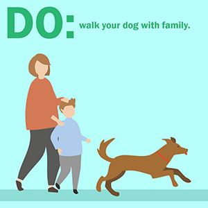 family walking dog with caption: DO walk your dog with the family