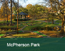 View of walking paths and picnic shelter at McPherson Park
