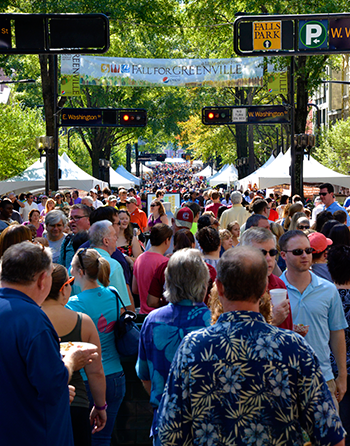 Street crowd at Fall for Greenville annual festival