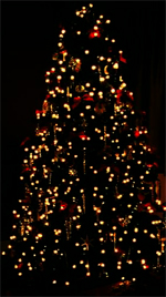 A Christmas Tree lit up with red and orange lights