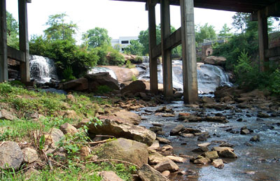 image of the falls with the old Camperdown bridge
